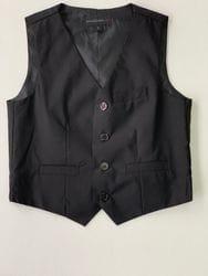 Black Wool Blend Vest