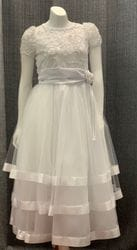 Short Sleeve Sequin Floral Mesh Dress