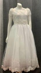 Short Sleeve White Beaded Dress