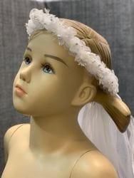 White Floral Crown with Veil