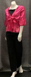 Pink Blouse and Black Pant Set