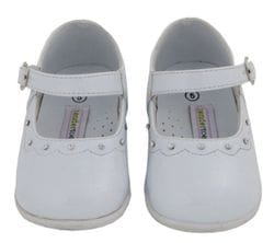 TENDERTOES- White Patent Shoe with Diamond Accent