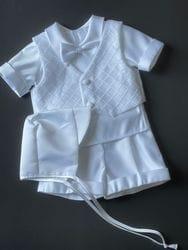 Shorts/Short Sleeve Diamond Pattern Baptism Outfit