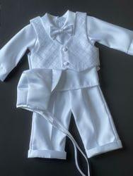 Diamond Pattern Baptism Vest Suit