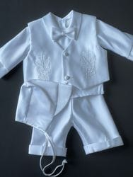 Embroidered Dove and Cross Baptism Vest Suit
