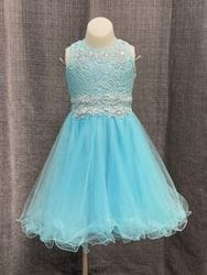 Aqua Lace Embroidery Diamond Short Dress