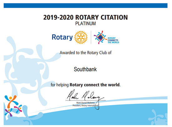 Rotary Citation with Platinum distinction