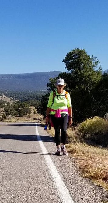Kay Ledson, Warrior Mom - Walking through New Mexico on her journey across America.