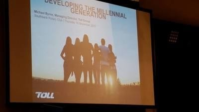 Opening slide of Michael Byrne's presentation on Developing the Millennial Generation