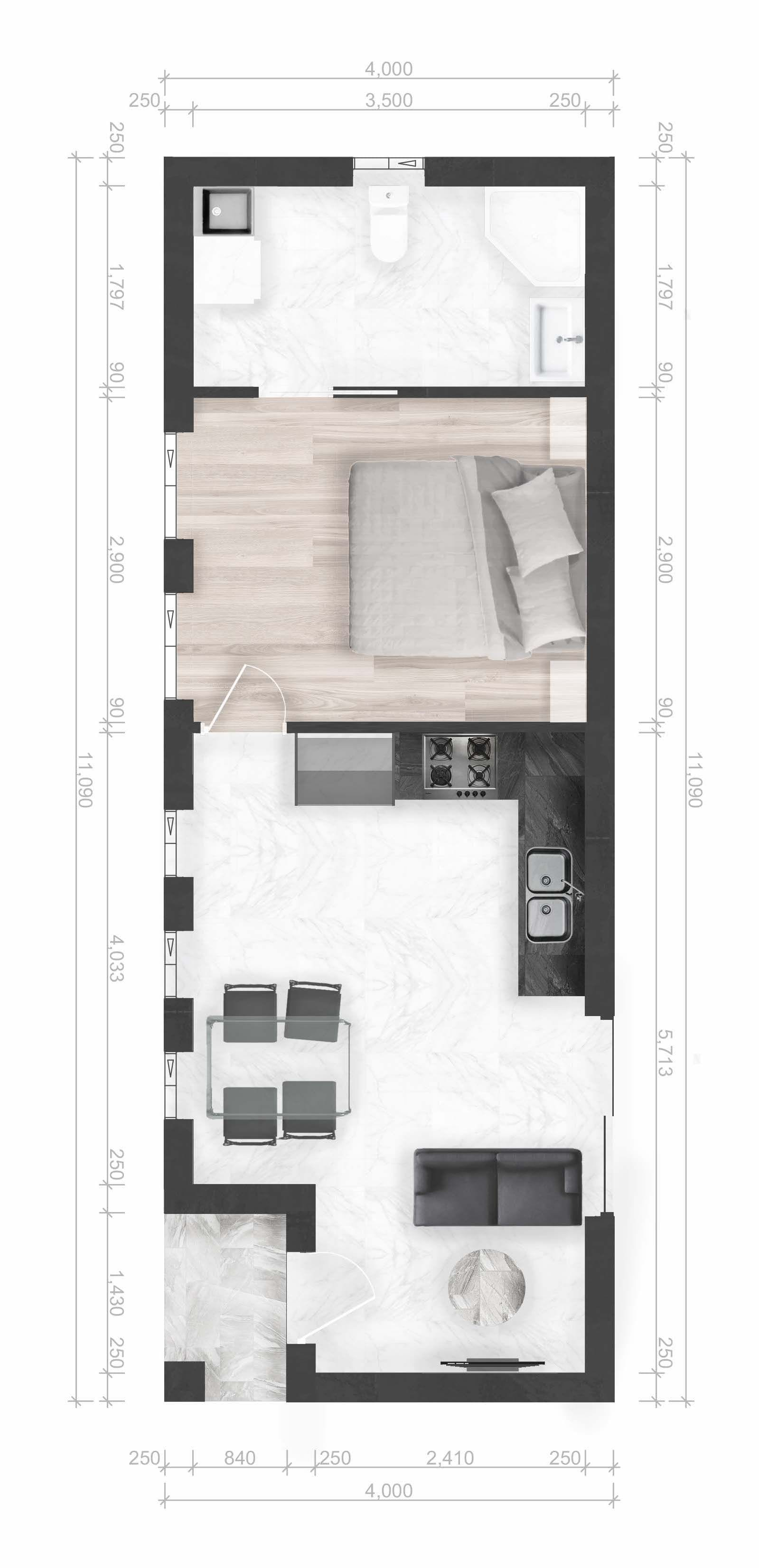 1 Bedroom Cabin Floor Plans