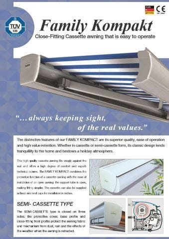 Family Kompakt Folding Arm Brochure | Folding arm awnings on the Gold Coast