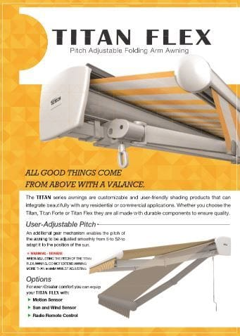 Titan Flex Folding Arm Brochure | Folding arm awnings on the Gold Coast