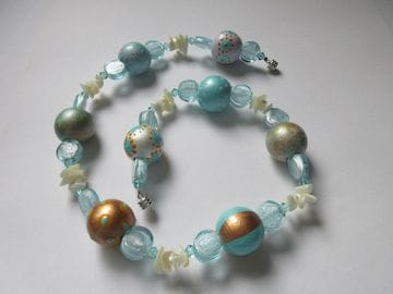 Hand-painted wooden beads with fancy foil glass, Czech crystals and shell