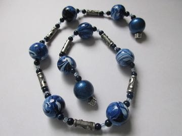 Hand-painted wooden beads with navy tiger-eye and metal tubes
