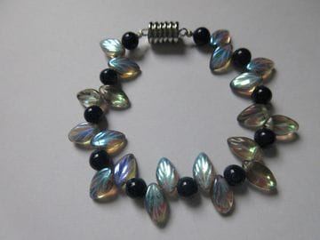Tiger-eye with fire-polished Czech crystal and fancy glass leaves with magnetic closure