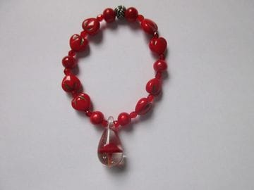 Miracle beads with fire-red Czech crystals and fancy glass mushroom pendant
