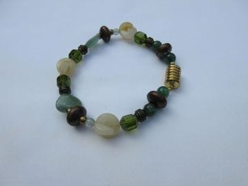 Jade green and cream colours with fancy Czech crystals and magnetic clasp