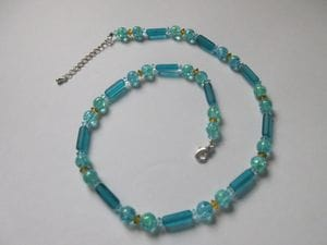 Turquoise cracked glass, Czech crystals