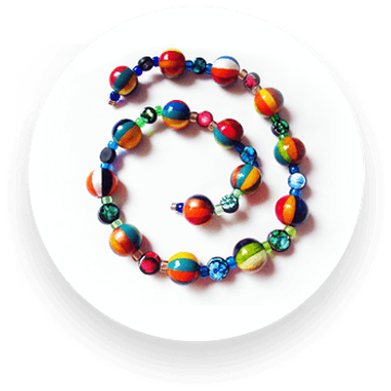 Hand-painted wooden beads with Czech glass and fimo