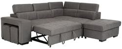 Graceland 3 Seater Lounge with Sofa Bed, Storage Chaise + Ottoman and Footstools