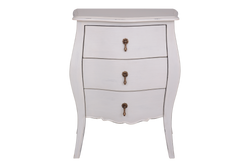 French Provincial 3 Drawer Bedside Table