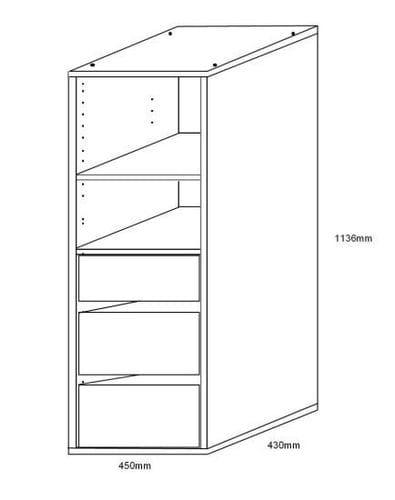 Wardrobe Insert - 3 Drawer + 2 Shelves Main