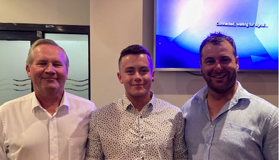 Greg Mclean (Statewide's SA Regional Manager), Briley Gibbs (Runner-Up Apprentice of the Year 2020), and Ben Williams of Ben's Constructions (Briley's Host Employer) at Riverland & Mallee Vocational Awards.