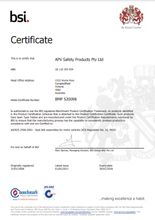 BSI Certificate APV Safety Products