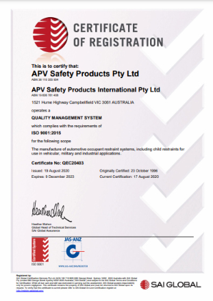 APV Safety Products ISO 9001:2015