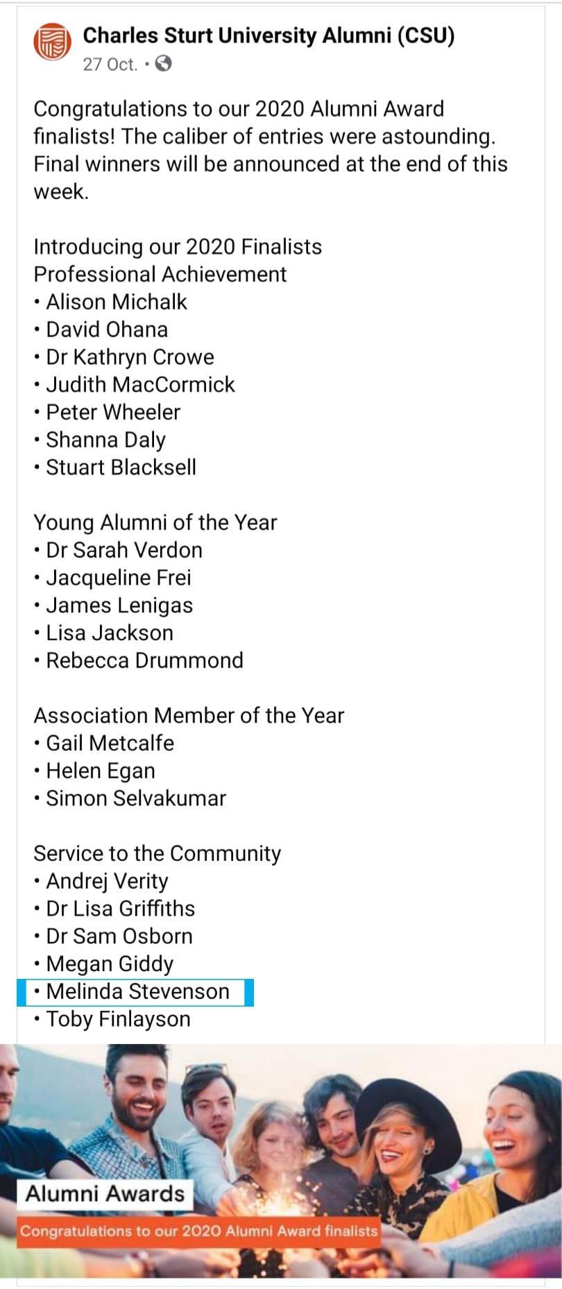 Charles Sturt University Facebook 2020 Alumni Awards Finalists Announcement