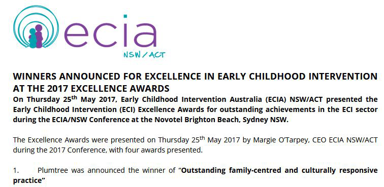 Plumtree ECIA NSW/ACT Excellence Awards Winner