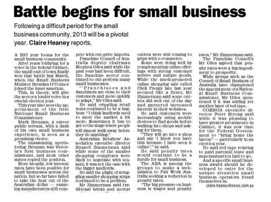 Battle begins for small business