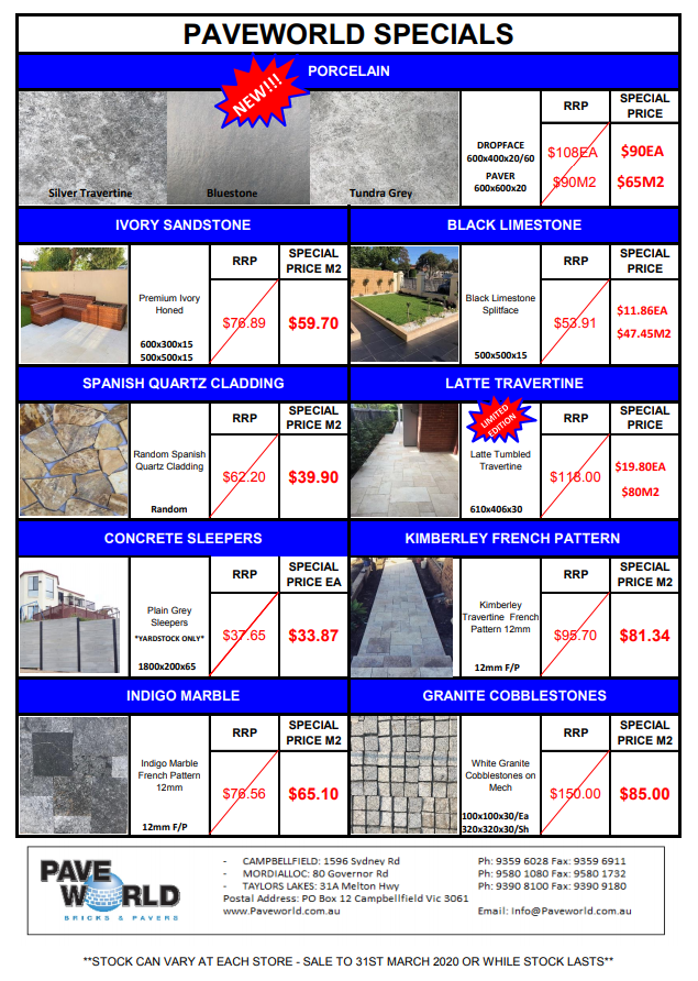 Sales and specials on pavers, tiles and stone in Melbourne