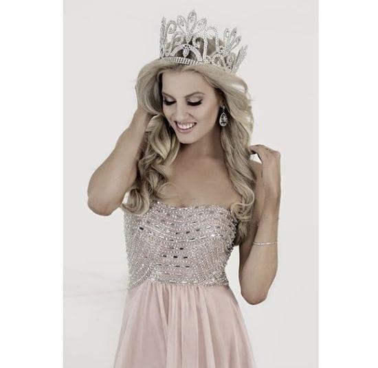 Miss Universe competitor wears Jadore dress.