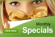 Monthly Specials, gift vouchers and packages