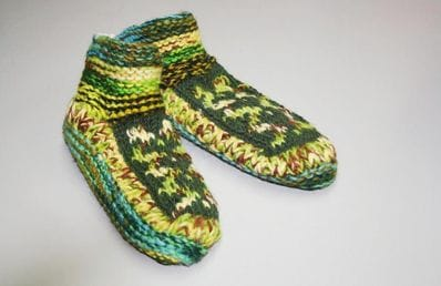 Green wool slippers