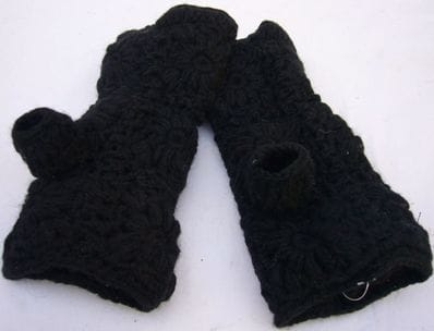 Black Fingerless wool glove