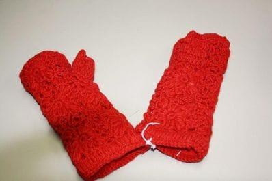 Red fingerless wool glove