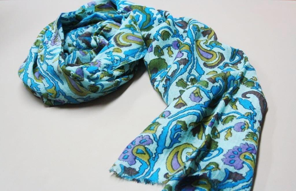 Fine wool paisley wrap - blue