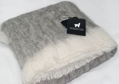 Grey and cream plain alpaca throw rug