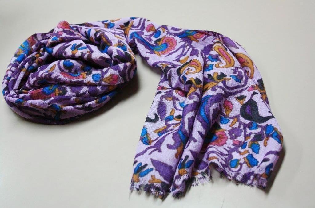 Fine Wool Paisley wrap - purple