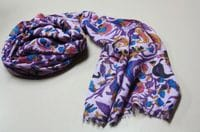 Fine Wool Paisley wrap - purple
