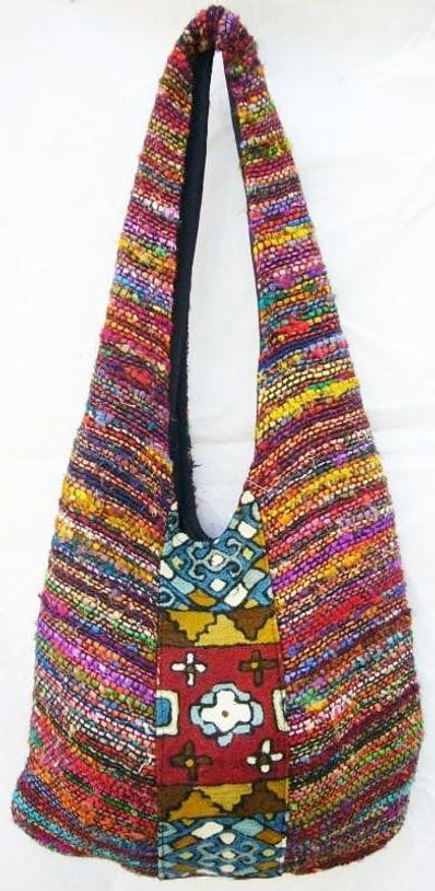Silk shoulder bag with woven textile feature