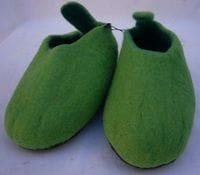 Green wool felt slippers (size 39)