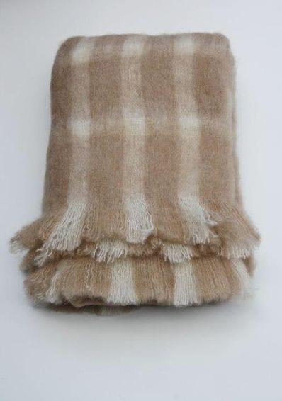 Light fawn check Australian Alpaca throw rug