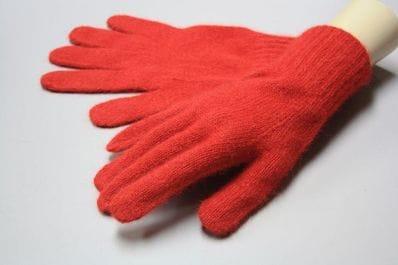 Red Alpaca & angora gloves