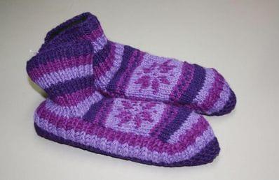 Purple wool slippers