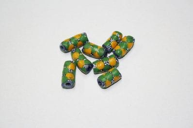 Green & yellow Krobo beads 8pk