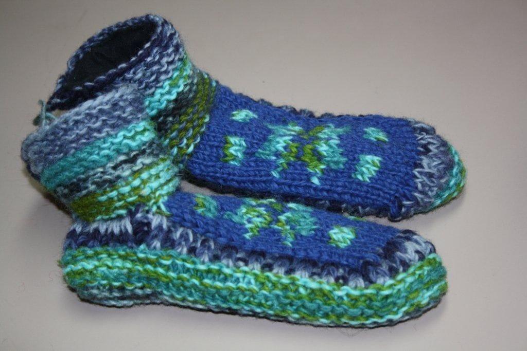 Turquoise wool slipper
