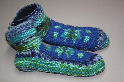 Turquoise wool slipper